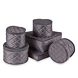 .ORG Quilted 6-Piece Dinnerware and Serveware China Storage Set in Grey