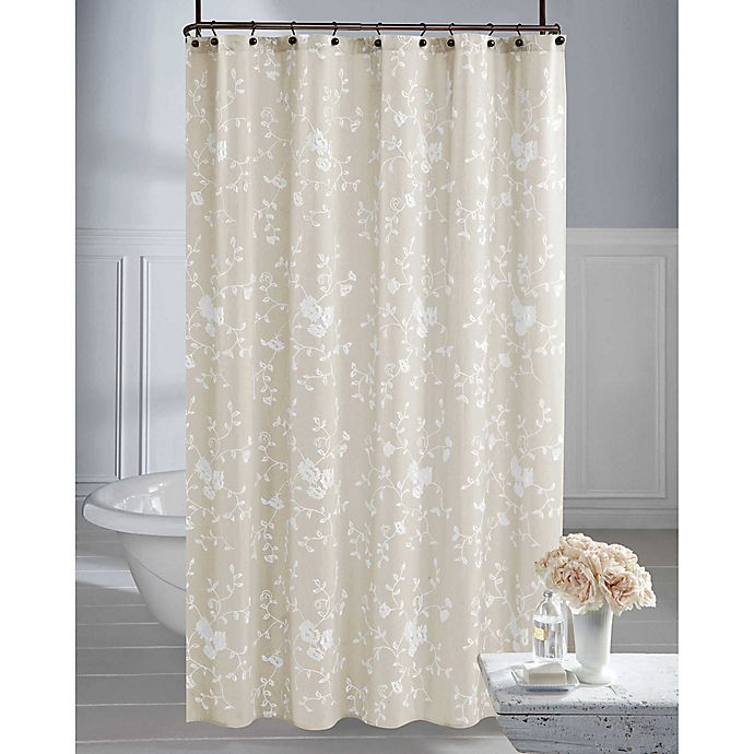 Alternate image 1 for Wamsutta® Vintage Embroidered Floral Shower Curtain in Linen