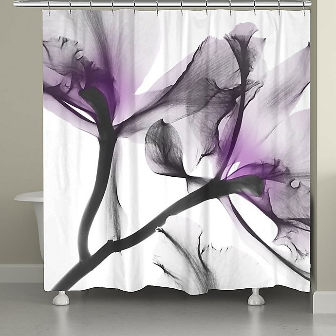 Laural Home Lavender Cyclamen Flowers Shower Curtain In Purple