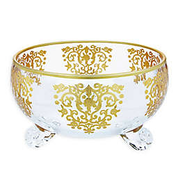 Classic Touch Glim Footed Salad Bowl in Gold