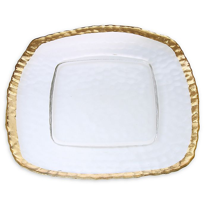 Alternate image 1 for Classic Touch Trophy Gold Rim Square Charger Plates (Set of 4)