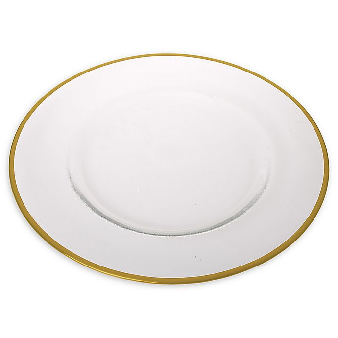 Alternate image 1 for Classic Touch Trophy Simple Charger Plates in Gold (Set of 4)