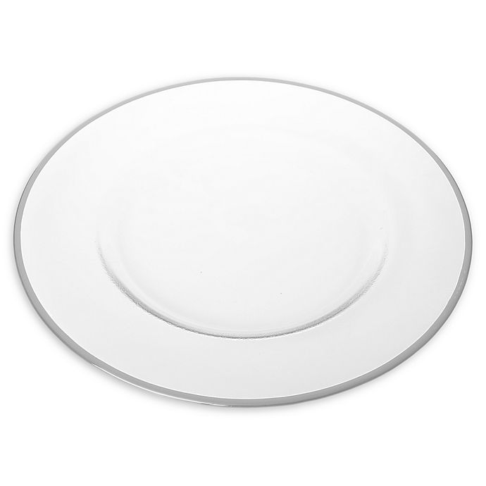 Alternate image 1 for Classic Touch Trophy Simple Charger Plates in Silver (Set of 4)