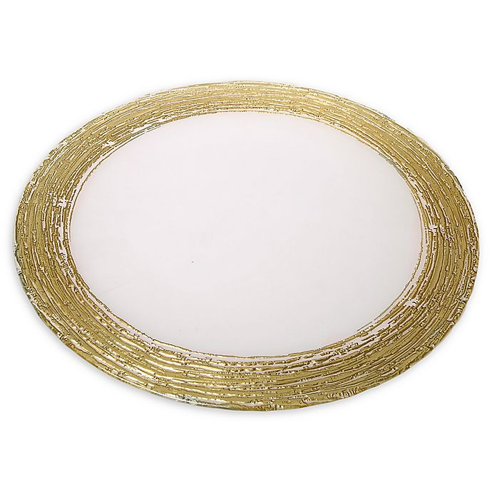 Alternate image 1 for Classic Touch Trophy Charger Plates with Flashy Gold Design (Set of 4)