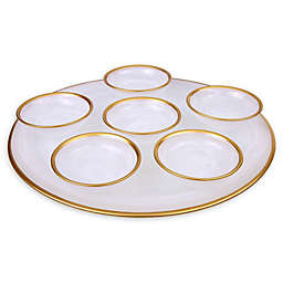 Classic Touch Trophy Alabaster White Seder Plate