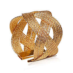 Classic Touch Woven Napkin Rings in Golden (Set of 6)