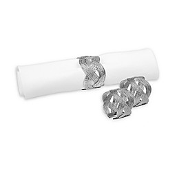 Classic Touch Woven Napkin Rings in Silver (Set of 6)