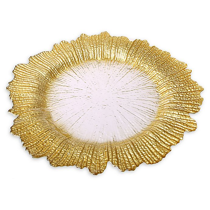 Alternate image 1 for Classic Touch Trophy Flower Charger Plates in Gold (Set of 4)