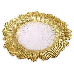Classic Touch Trophy Flower Charger Plates in Gold (Set of 4)