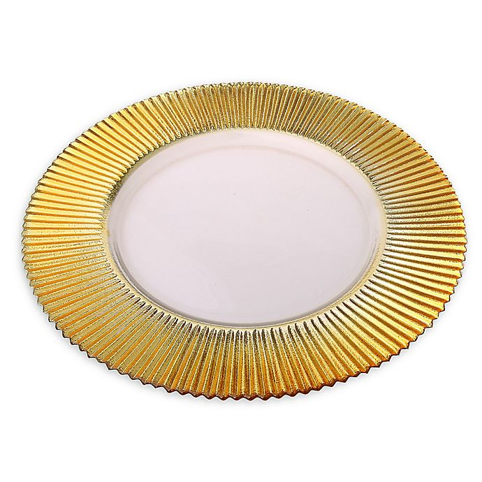 Alternate image 1 for Classic Touch Trophy Ridged Charger Plates in Gold (Set of 4)