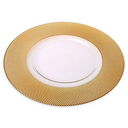 Classic Touch Trophy Solar Charger Plates in White/Gold (Set of 4)
