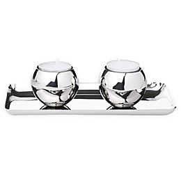 Classic Touch Mundane Tealight Holders with Tray