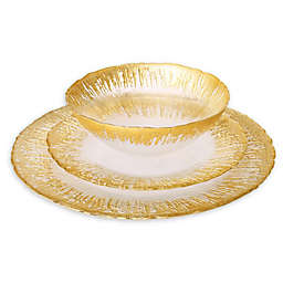Classic Touch Trophy 12-Piece Dinnerware Set with Flashy Gold Design