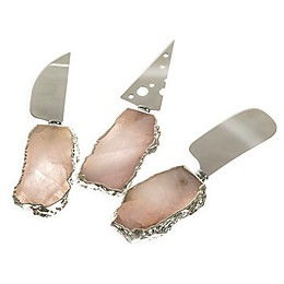 3-Piece Crystal Quartz Cheese Knife Set in Silver