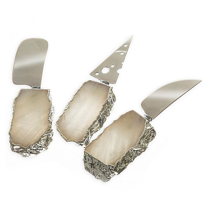 Alternate image 1 for 3-Piece Crystal Quartz Cheese Knife Set in Silver