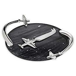 Godinger® Airplane 2-Piece Marble Cheese Board and Knife Set in Black