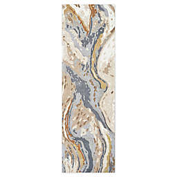 Rizzy Home Vogue Geological 2'6 x 8' Runner in Beige