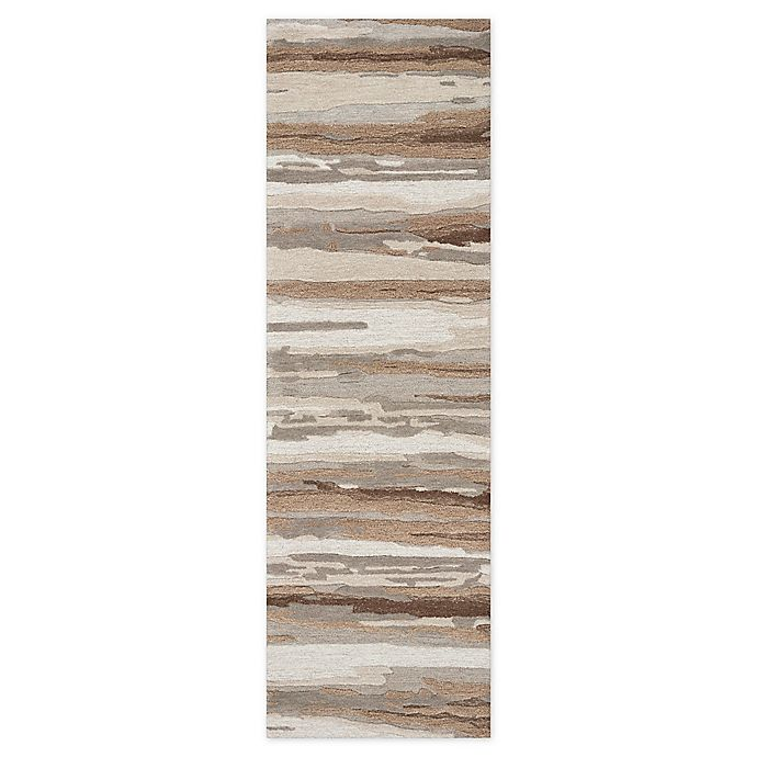 Alternate image 1 for Rizzy Home Abstract Stripes 8' Runner Tufted Rug in Tan