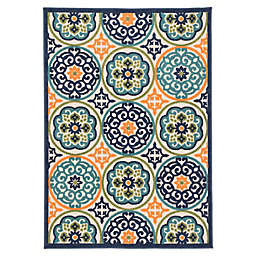 Jaipur Belize Medallion Indoor/Outdoor Multicolor 7'4 x 9'6 Area Rug in Blue