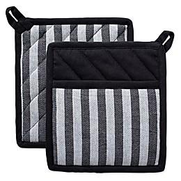 Design Imports Geometric Stripe Pot Holders in Black/Grey (Set of 2)