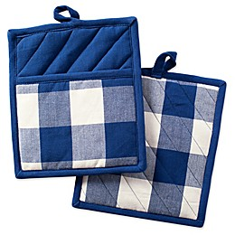 Design Imports Buffalo Check Pot Holders in Navy (Set of 2)