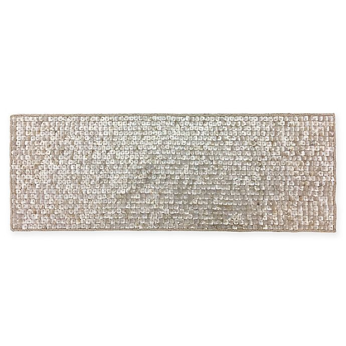 Mother Of Pearl Beaded 36 Inch Table Runner In Ivory Bed