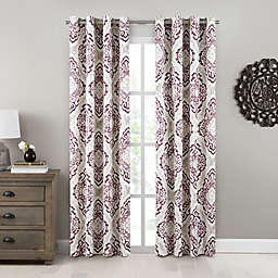 Design Solutions Caleb 108-Inch Grommet Light-Filtering Window Curtain Panel in Berry (Single)