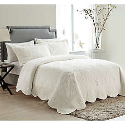 VCNY Home Westland Quilted Plush King Bedspread Set in Ivory