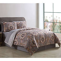 VCNY Home Brynn Reversible Comforter Set in Grey/Gold