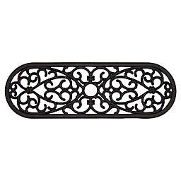 """Nature Mats by Geo 29.5"""" x 9.75"""" Oval Outdoor Stair Treads in Black (Set of 2)"""