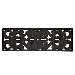 """Nature Mats by Geo Swirl 29"""" x 8.75"""" Outdoor Stair Treads in Black (Set of 2)"""