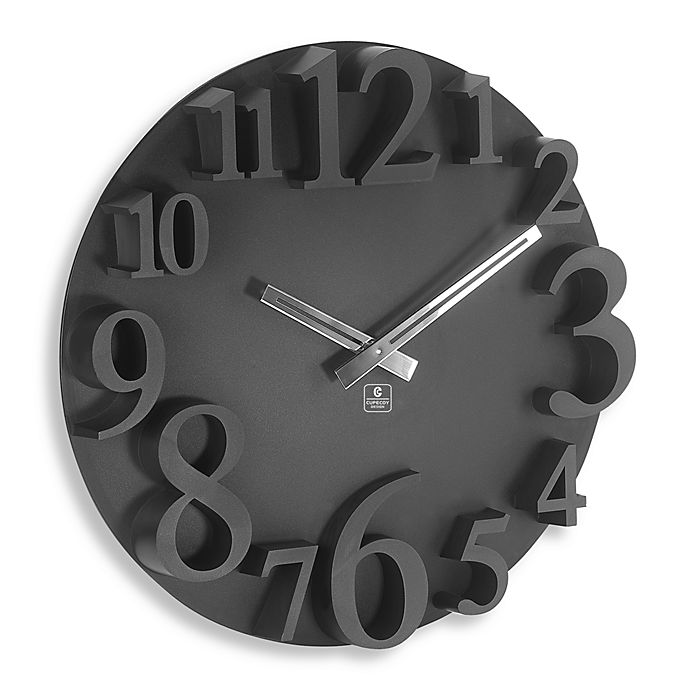 Cupecoy Design Black 16 Inch Wall Clock With Raised