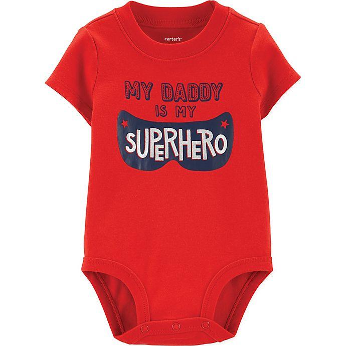 Alternate image 1 for carter's® Superhero Dad Bodysuit in Red