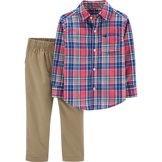 Alternate image 1 for carter's® 2-Piece Plaid Shirt and Khaki Pants Set in Red/Blue
