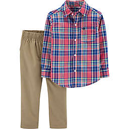 carter's® 2-Piece Plaid Shirt and Khaki Pants Set in Red/Blue