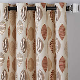 Abstract Leaf 63-Inch Grommet Window Curtain Panel in Brick (Single)
