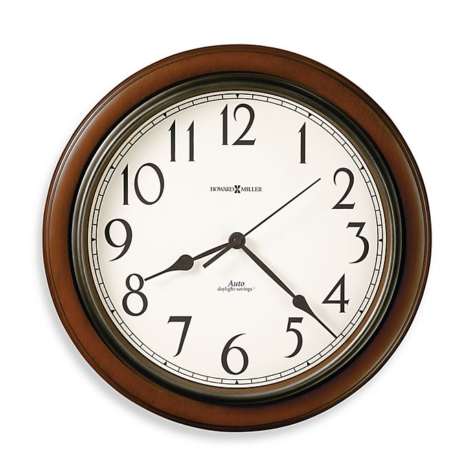Alternate image 1 for Howard Miller Talon Auto Daylight-Savings 15.75-Inch Wall Clock in Cherry