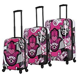 Mia Toro ITALY Hamsa Love Monochrome Hardside Spinner Luggage Collection