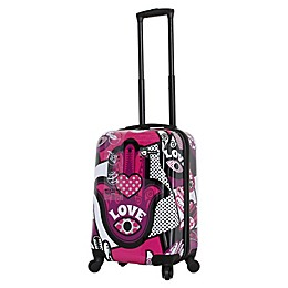 Mia Toro ITALY Hamsa Love Monochrome 20-Inch Hardside Spinner Carry On Luggage