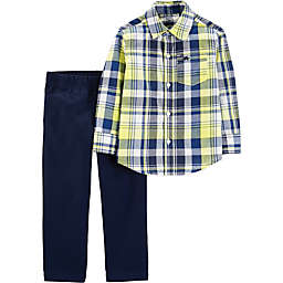 carter's® 2-Piece Plaid Shirt and Chino Pants Set in Yellow/Blue