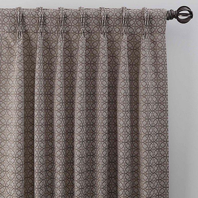 Alternate image 1 for Boratta Geo 95-Inch Pinch Pleat Window Curtain Panel in Mocha