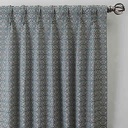 Boratta Geo 63-Inch Pinch Pleat Window Curtain Panel in Silver Blue