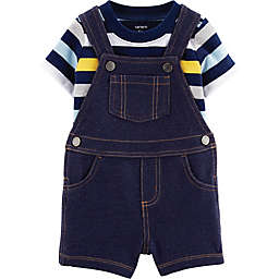 carter's® 2-Piece Striped Shirt and Short Coverall Set in Blue