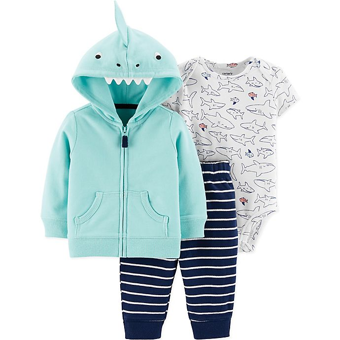 Alternate image 1 for carter's® Size 9M 3-Piece Dinosaur Cardigan Set in Blue