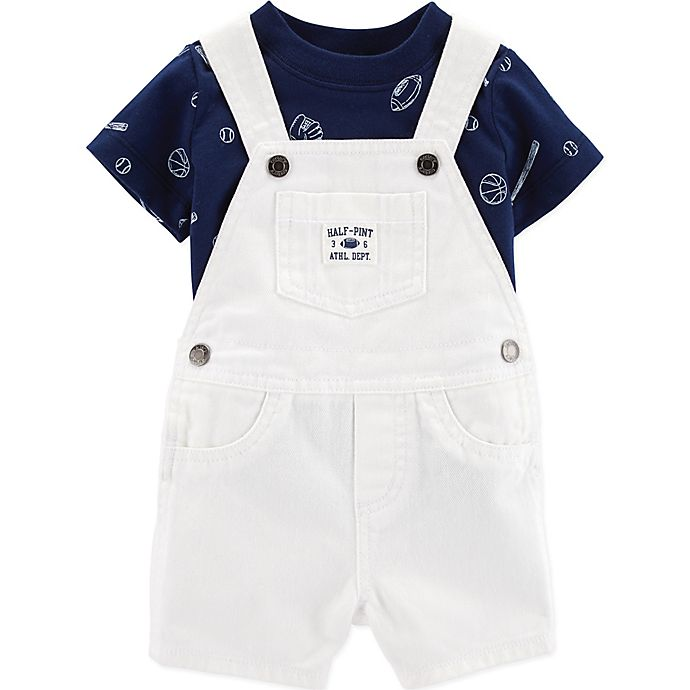 Alternate image 1 for carter's® 2-Piece Sports Shirt and Short Coverall Set in White