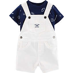 carter's® 2-Piece Sports Shirt and Short Coverall Set in White