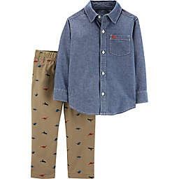 carter's® 2-Piece Dinosaur Shirt and Khaki Pants Set in Chambray