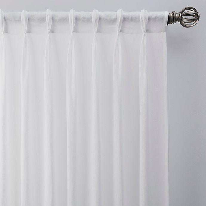 Alternate image 1 for Esteem 95-Inch Pinch Pleat Sheer Linen Window Curtain Panel in White