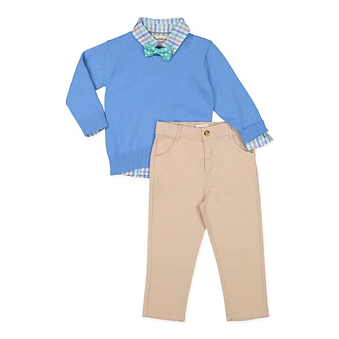 Alternate image 1 for Beetle & Thread 4-Piece Sweater, Shirt, Pant, and Bowtie Set in Blue/Khaki
