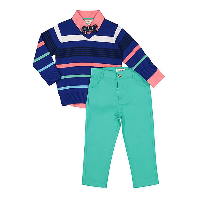 Alternate image 1 for Beetle & Thread 4-Piece Sweater, Shirt, Pant, and Tie Set in Navy/Mint
